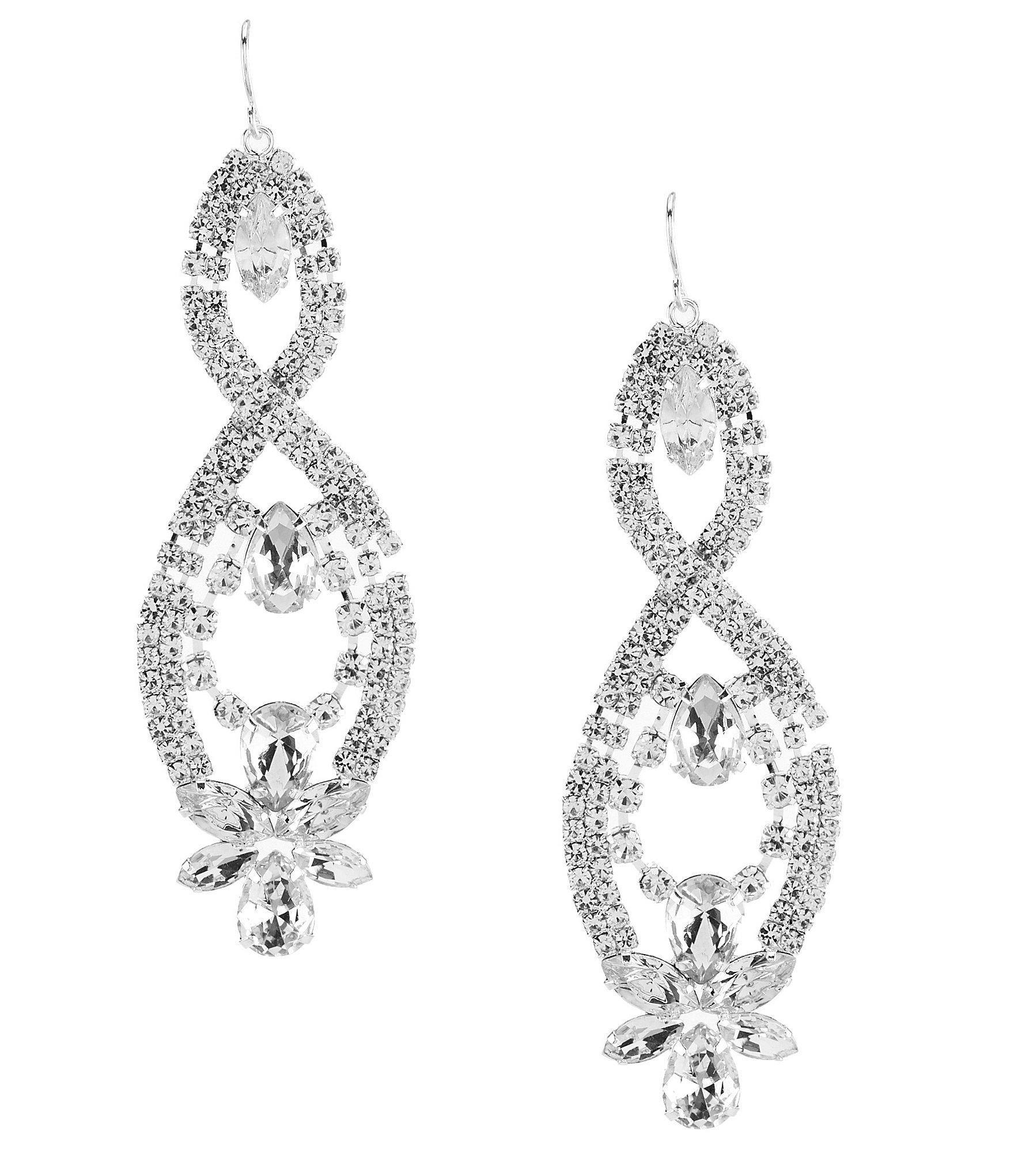 Cezanne Floral Rhinestone Chandelier Earrings In Silver