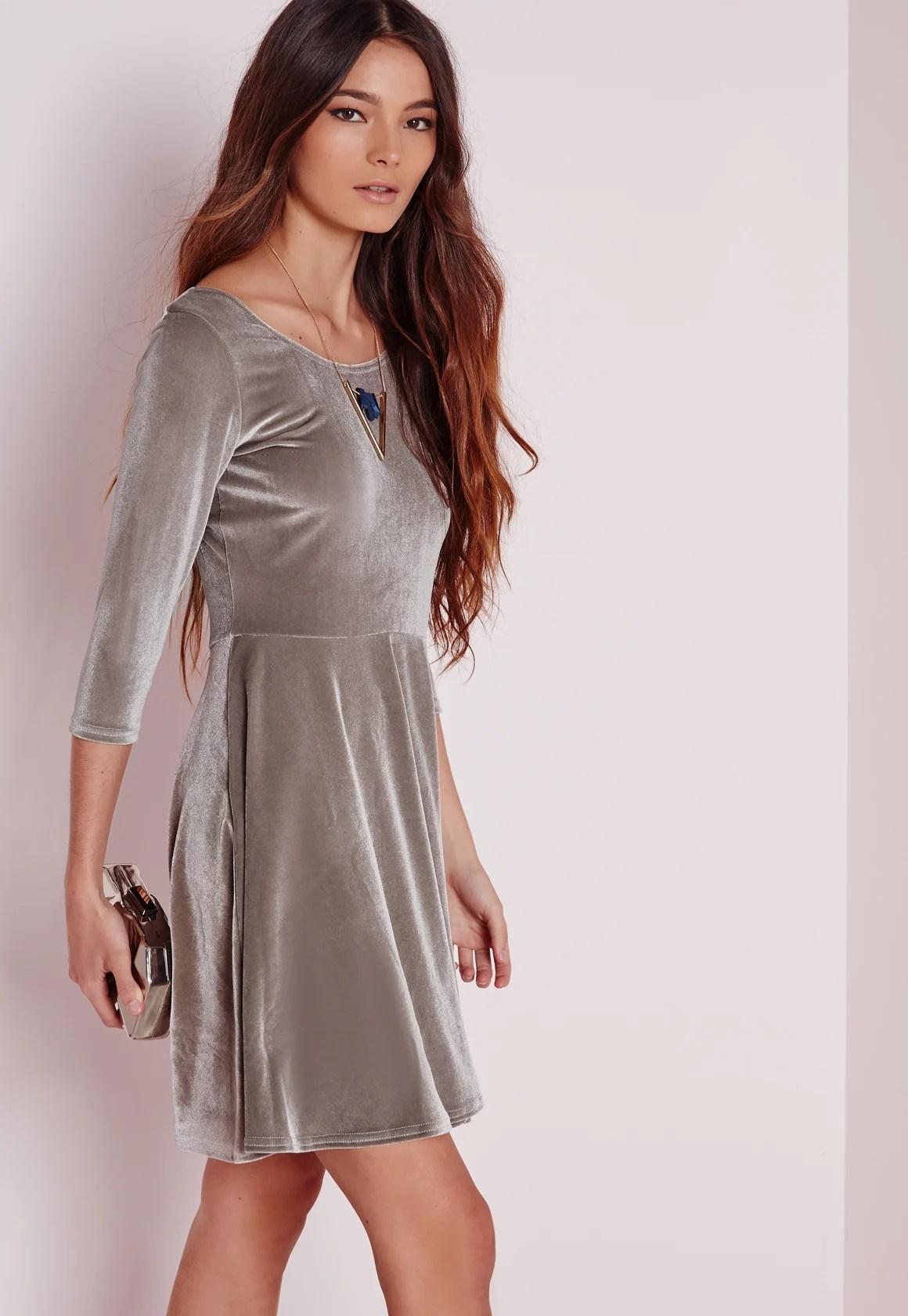 Missguided 34 Sleeve Velvet Skater Dress Grey In Gray Lyst