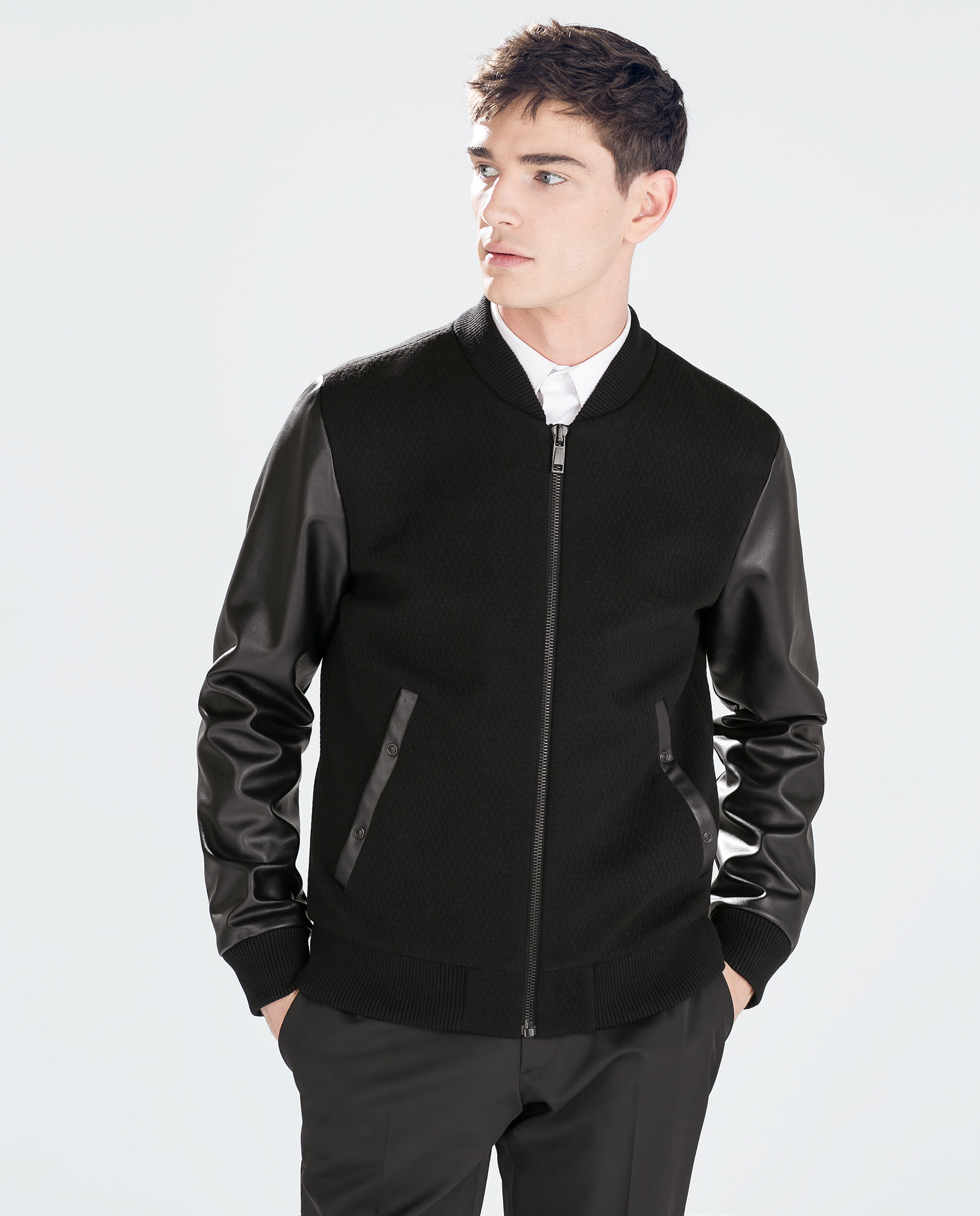 Male Army Jacket Leather Sleeves