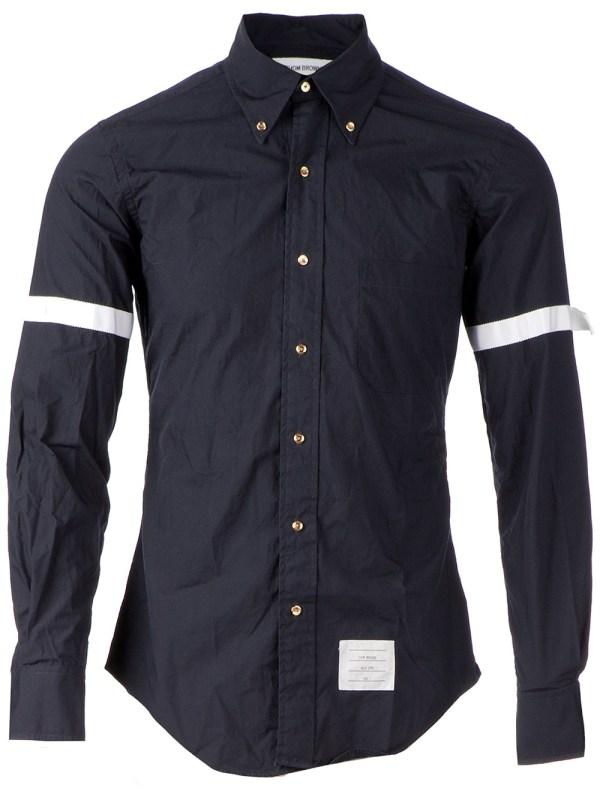 Thom Browne Grosgrain Detail Shirt in Blue for Men - Lyst