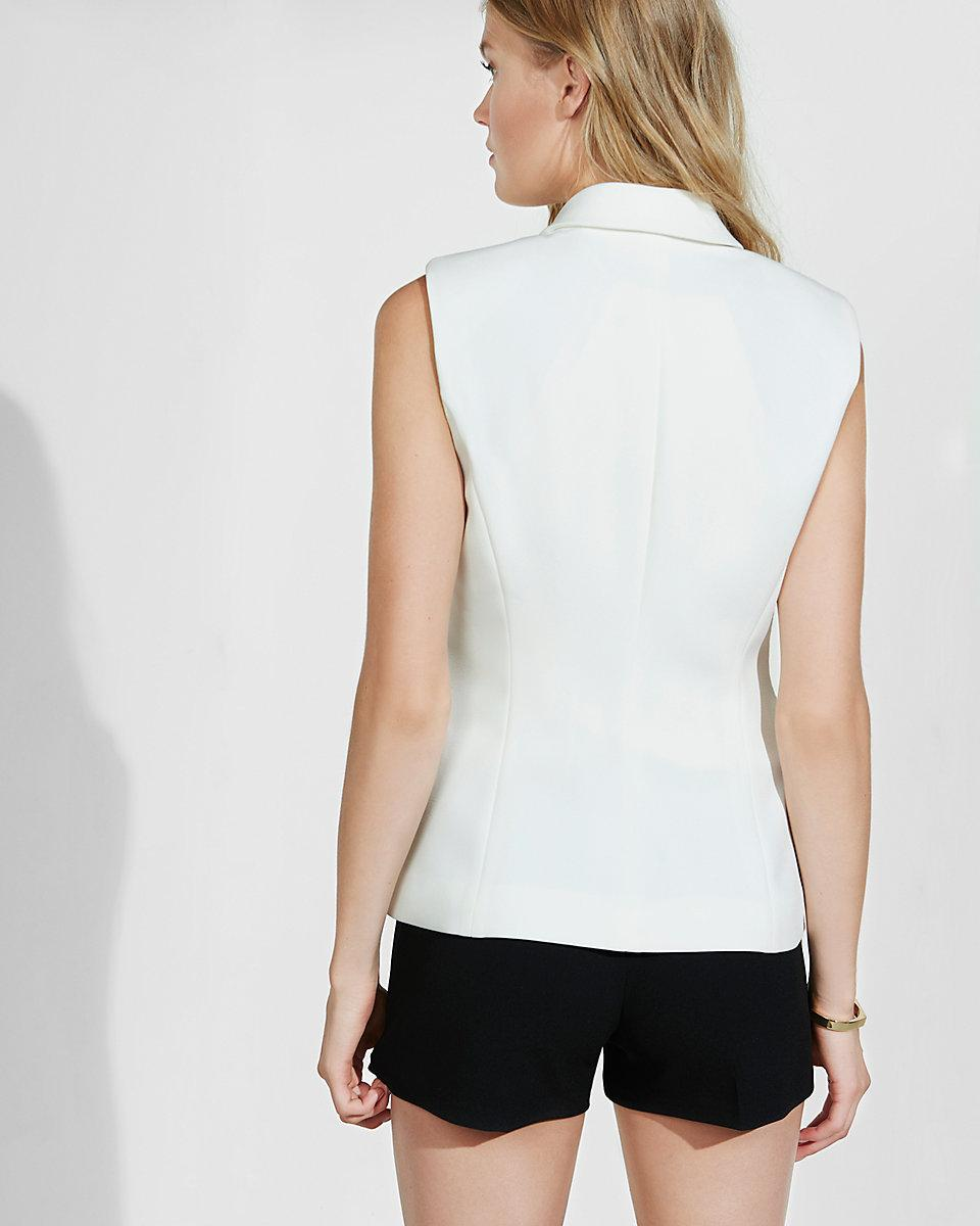 Lyst Express Ivory Sleeveless Faux Double Breasted