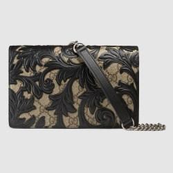 c5916cc4562 Lyst Gucci Arabesque Canvas Chain Wallet In Black