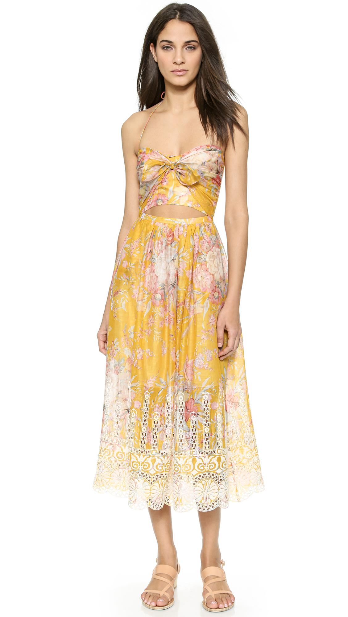 Lyst Zimmermann Confetti Scallop Tie Dress Mustard Floral