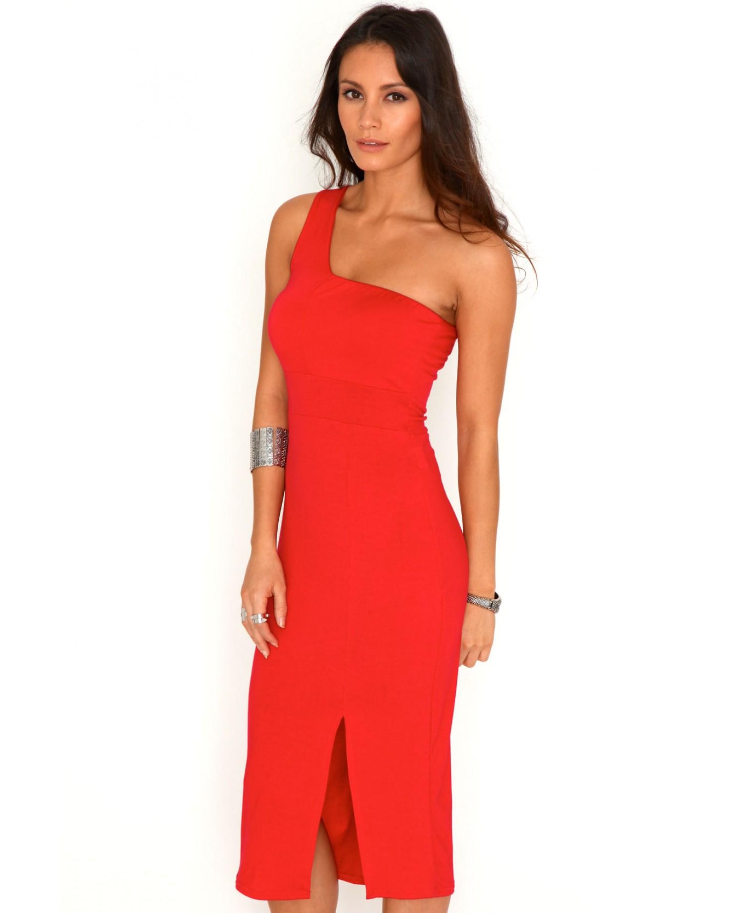 Missguided Rhoni One Shoulder Side Split Midi Dress In Red