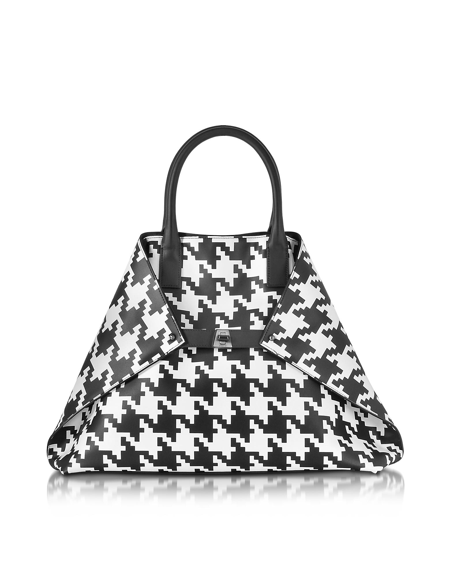 Akris Ai Medium Black And White Pied De Poule Printed Leather Tote Bag In Black