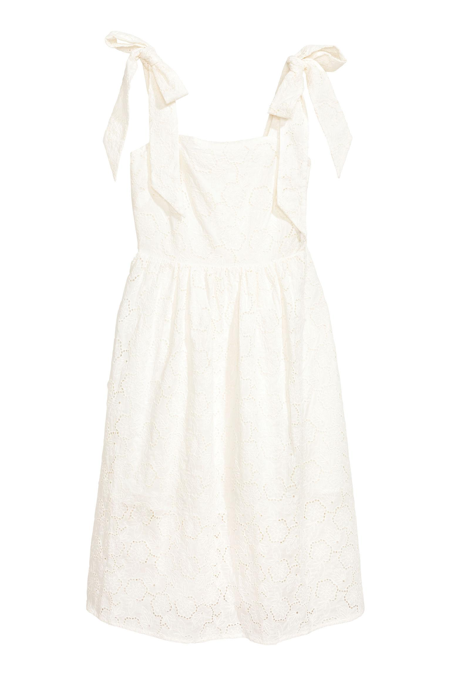 H Amp M Cotton Dress With Broderie Anglaise In White