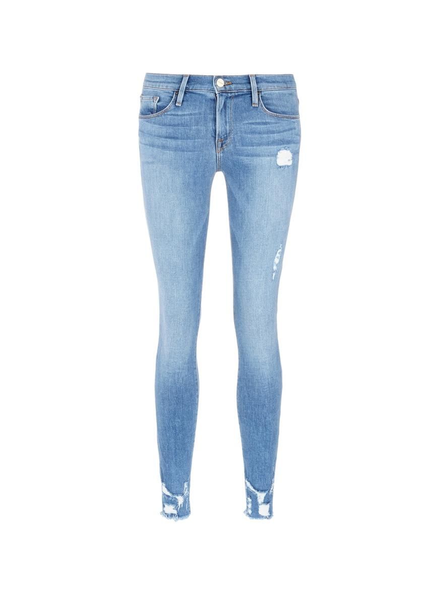 Frame Le Skinny De Jeanne Mid Rise Ripped Jeans In Blue