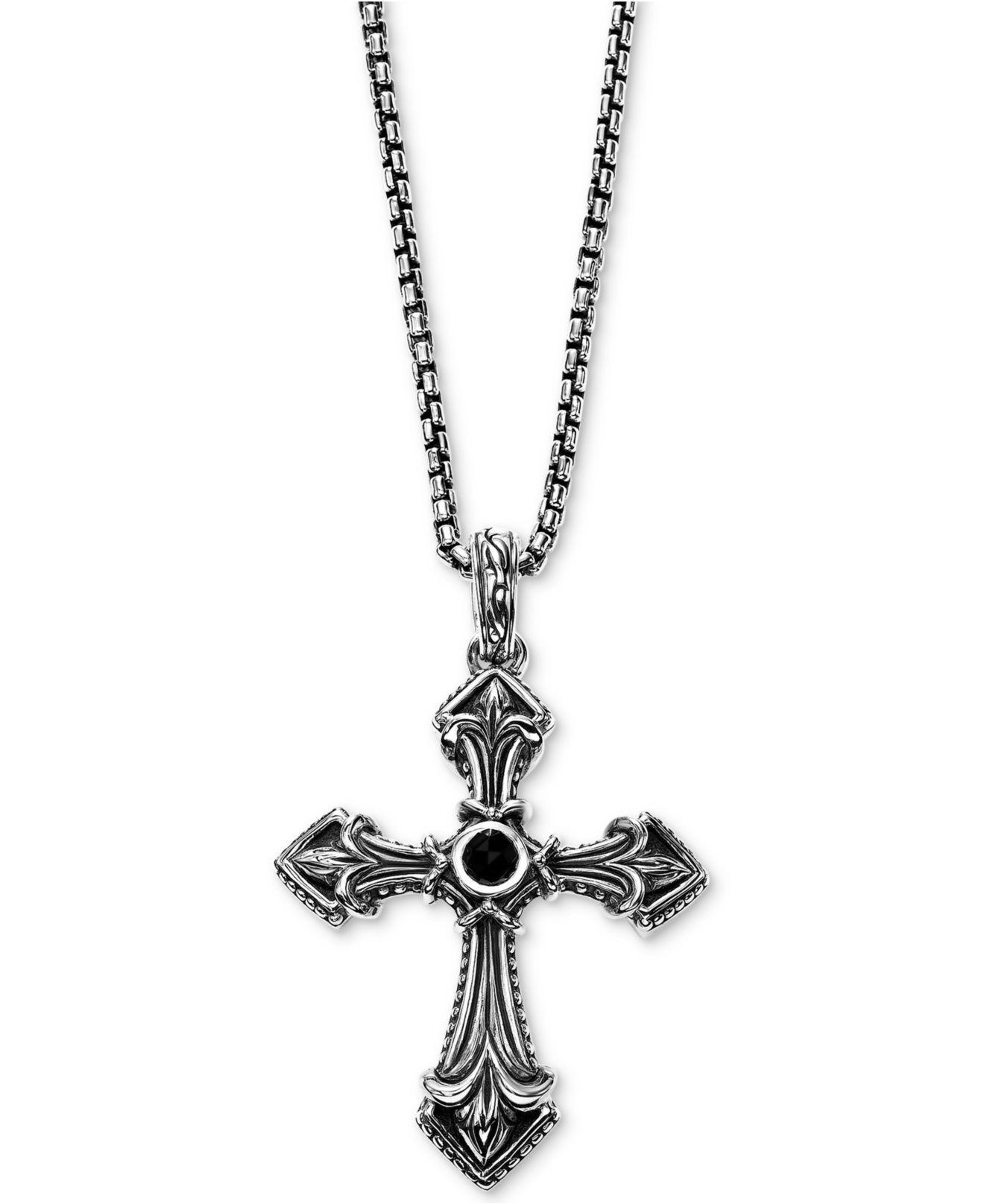 Scott Kay Onyx 5mm Cross 26 Pendant Necklace In