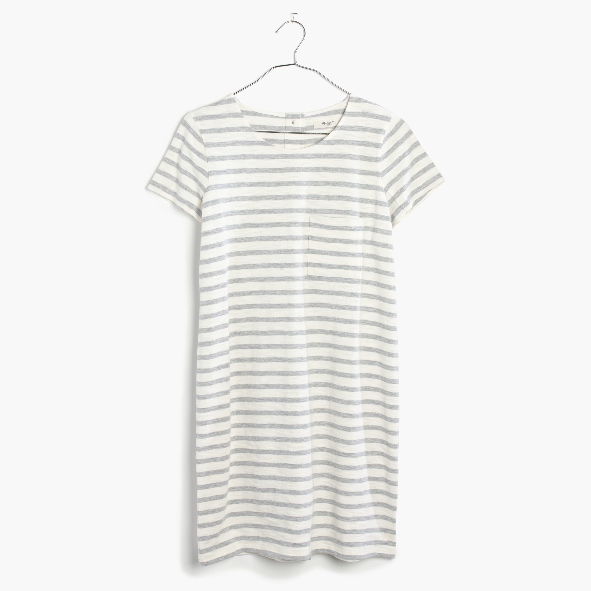 Madewell Striped Button Back Tee Dress In White