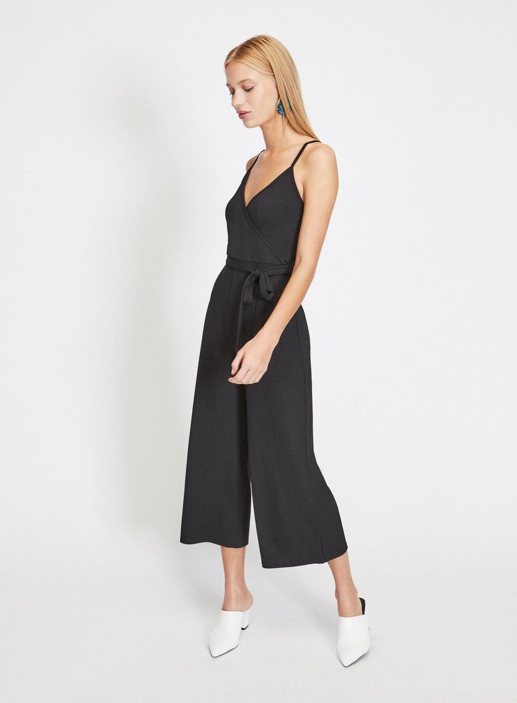 1e78d5398f46 Miss Selfridge Wrap Front Ribbed Culottes Jumpsuit In Black Lyst