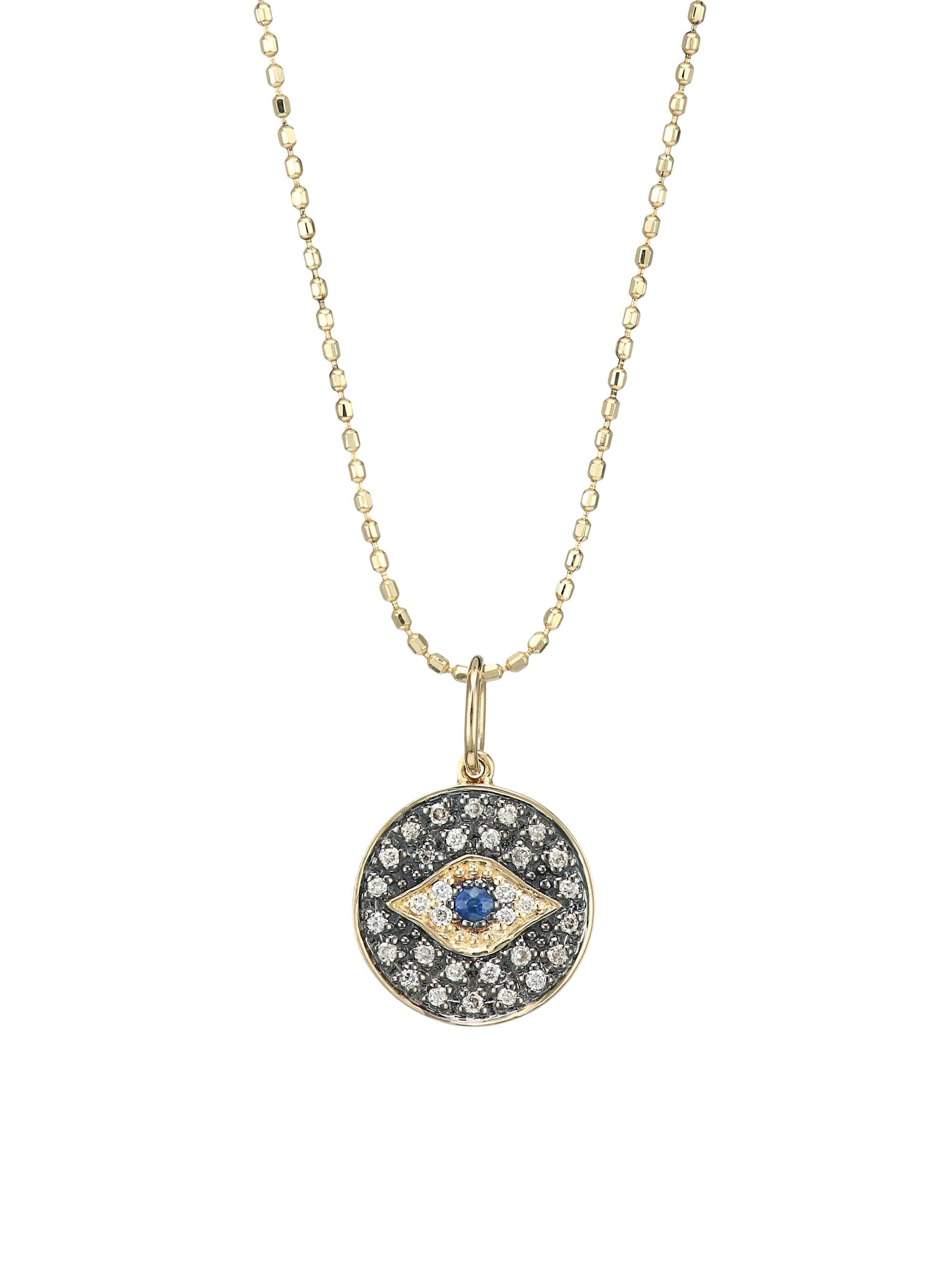 Sydney Evan Diamond Amp 14k Gold Small Evil Eye Medallion