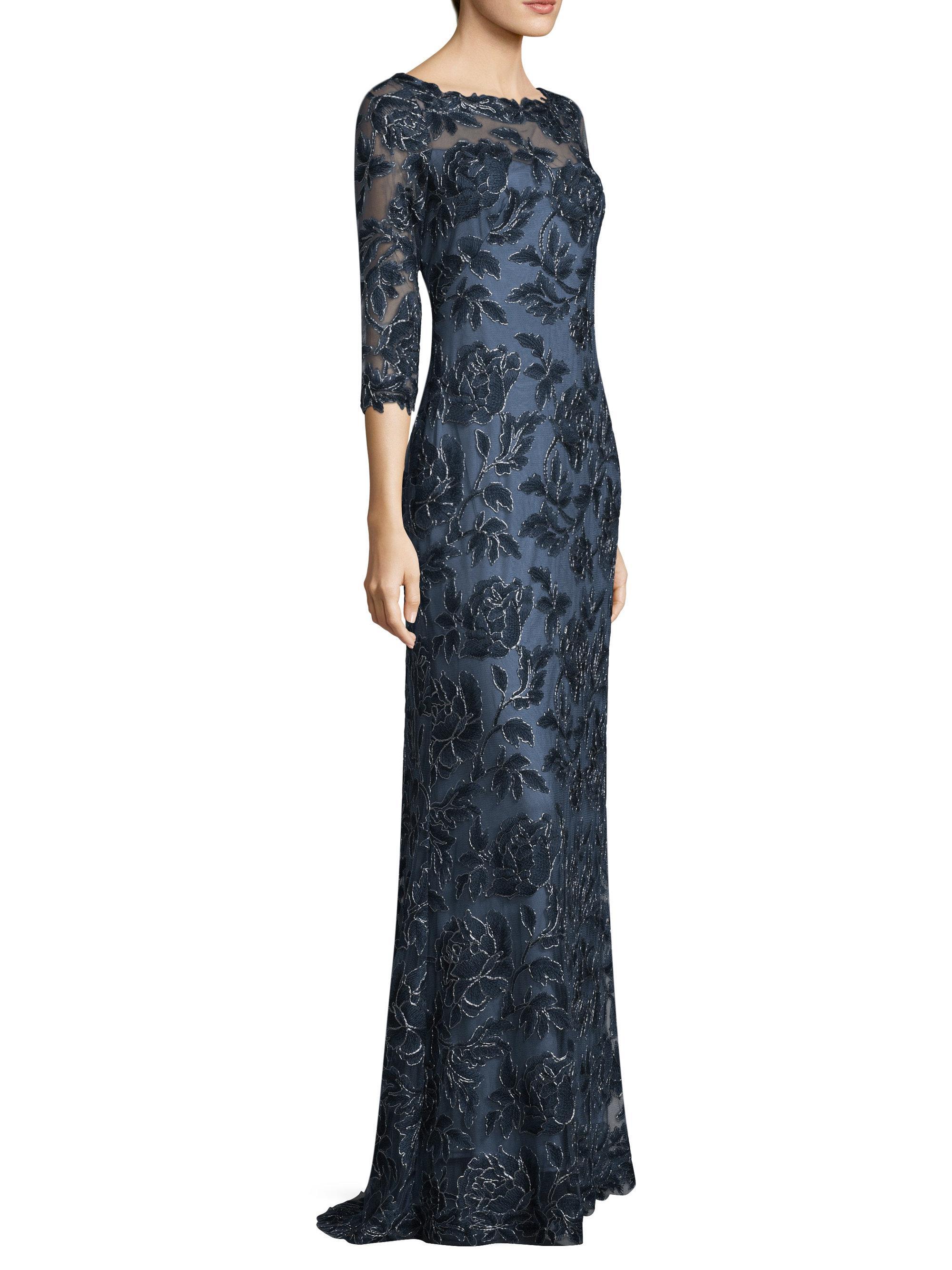 Lyst Tadashi Shoji Three Quarter Sleeve Lace Gown In Blue
