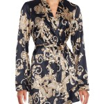Versace Printed Silk Blend Robe In Black Gold Black Lyst