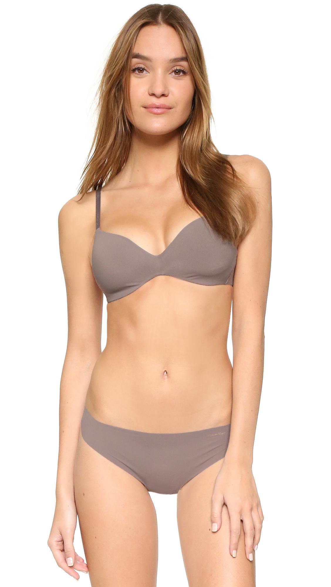 Calvin Klein Perfectly Fit Wireless Contour Bra In Gray Lyst
