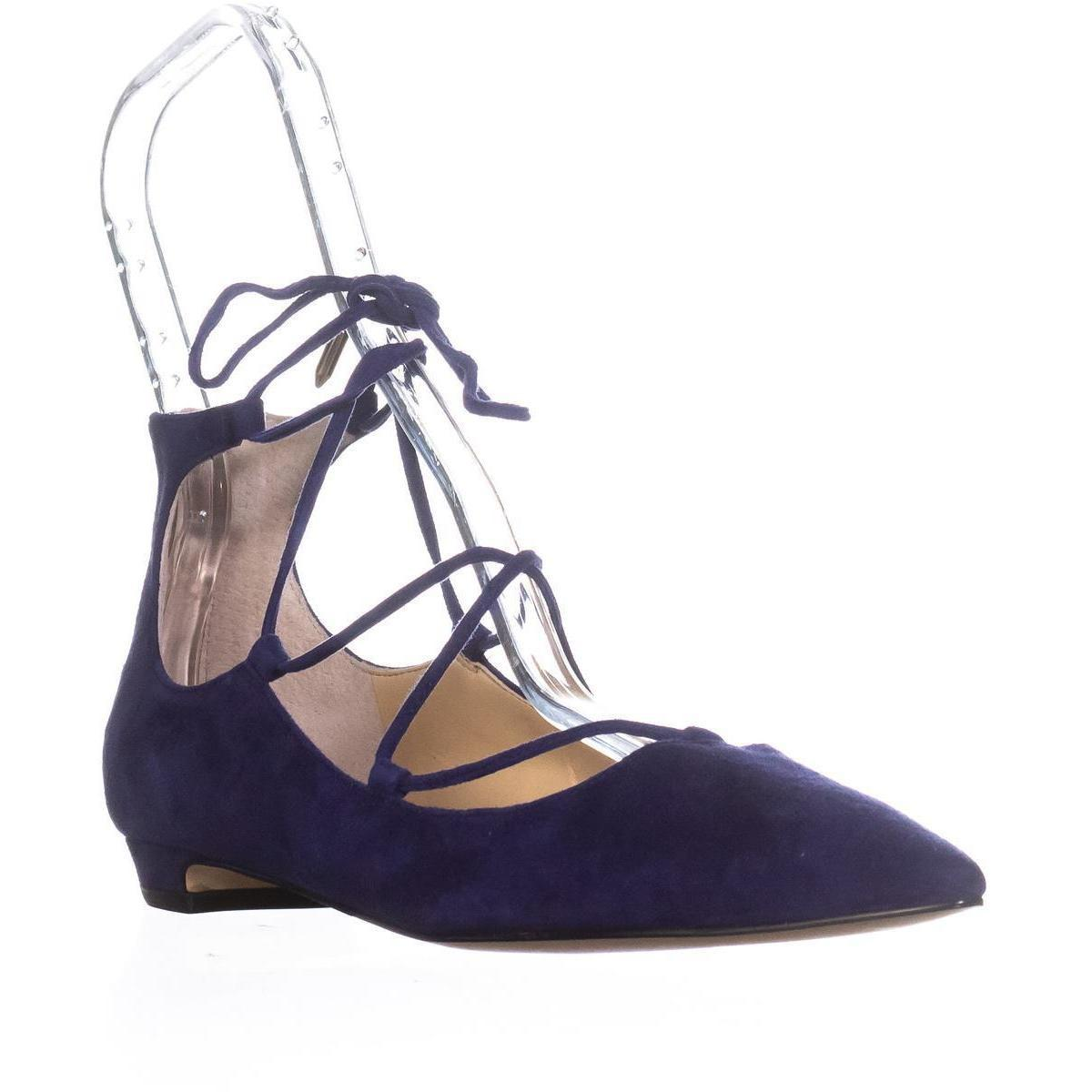 Ivanka Trump Tropica Lace Up Pointed Toe Ballet Flats In