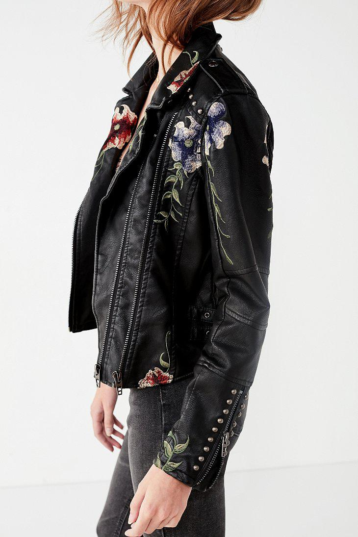 Blank Nyc As You Wish Floral Embroidered Moto Jacket In Black Lyst