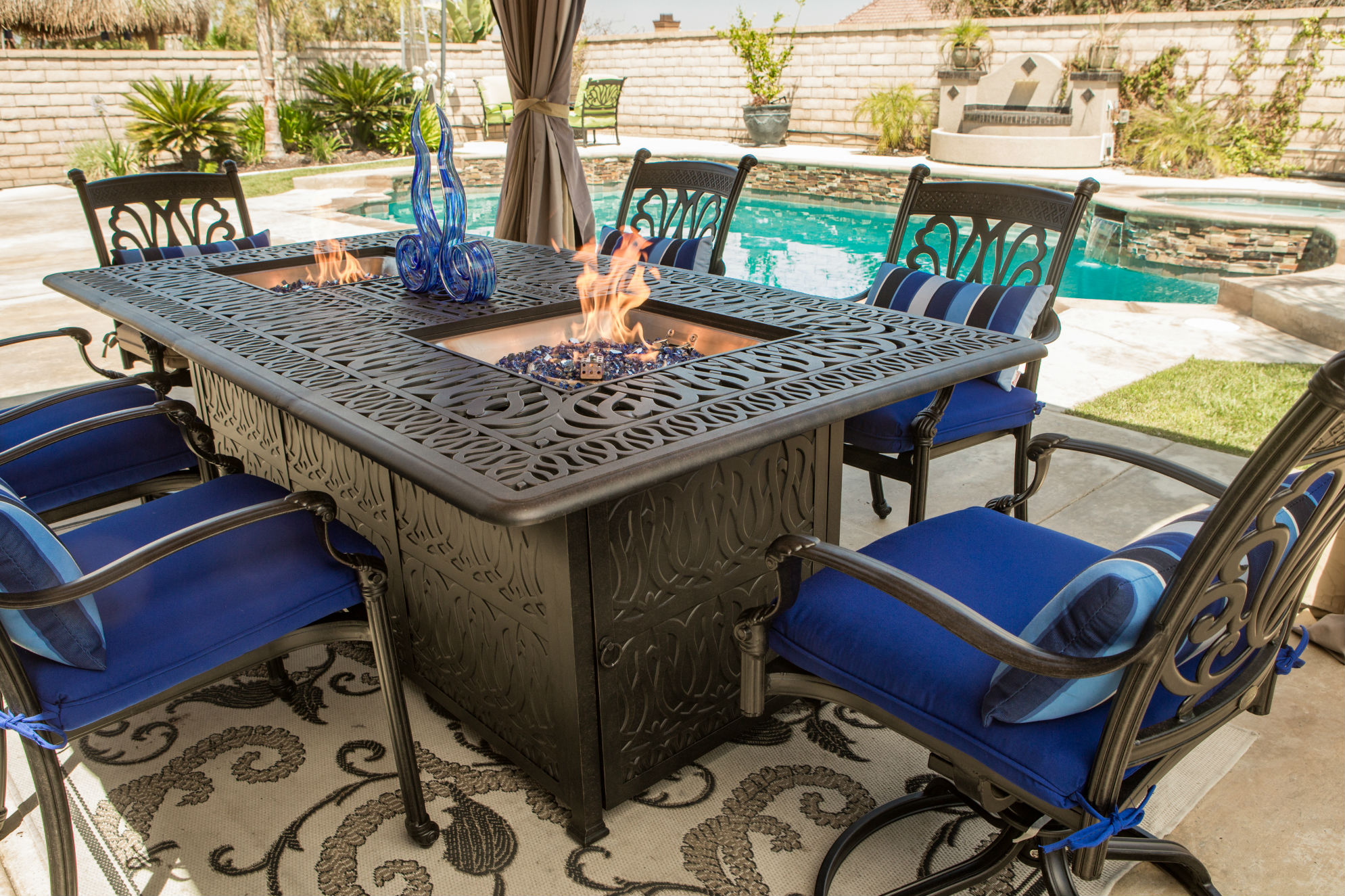 Summerset Casual Offers New Firepit Dining Table| Pool ... on Outdoor Dining Tables With Fire Pit id=53575