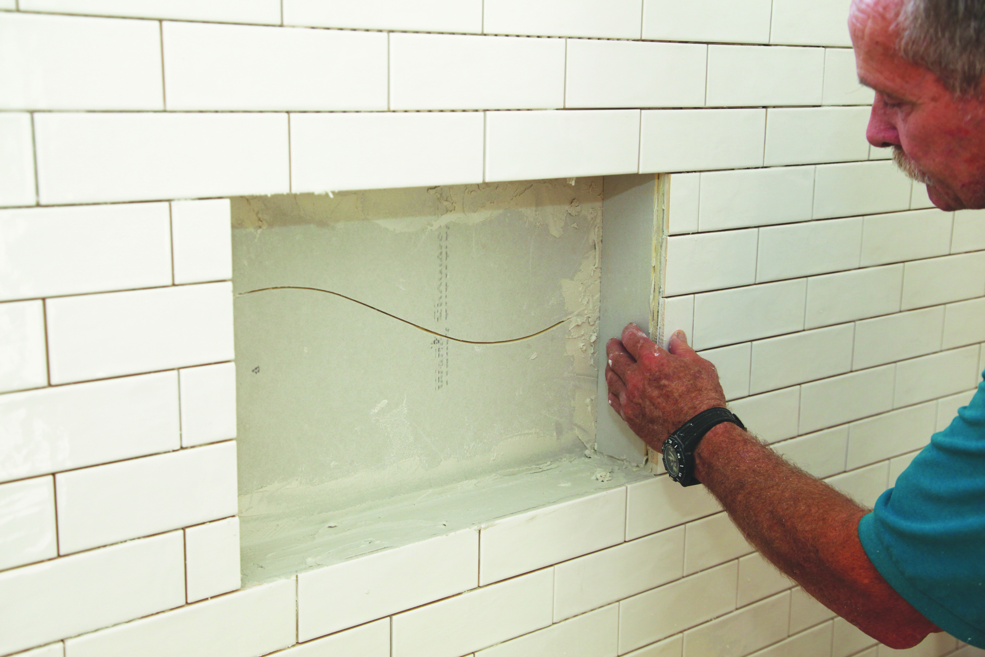 tile for a waterproof shower niche