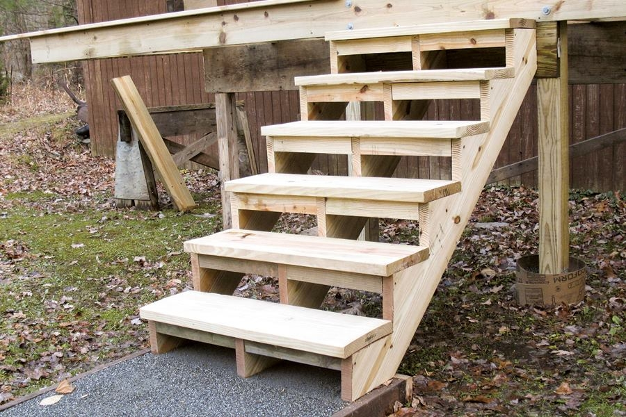 Building And Installing Deck Stairs Professional Deck Builder | Outside Stairs To Second Floor | Steel | Entrance | Staircase | Patio | Deck