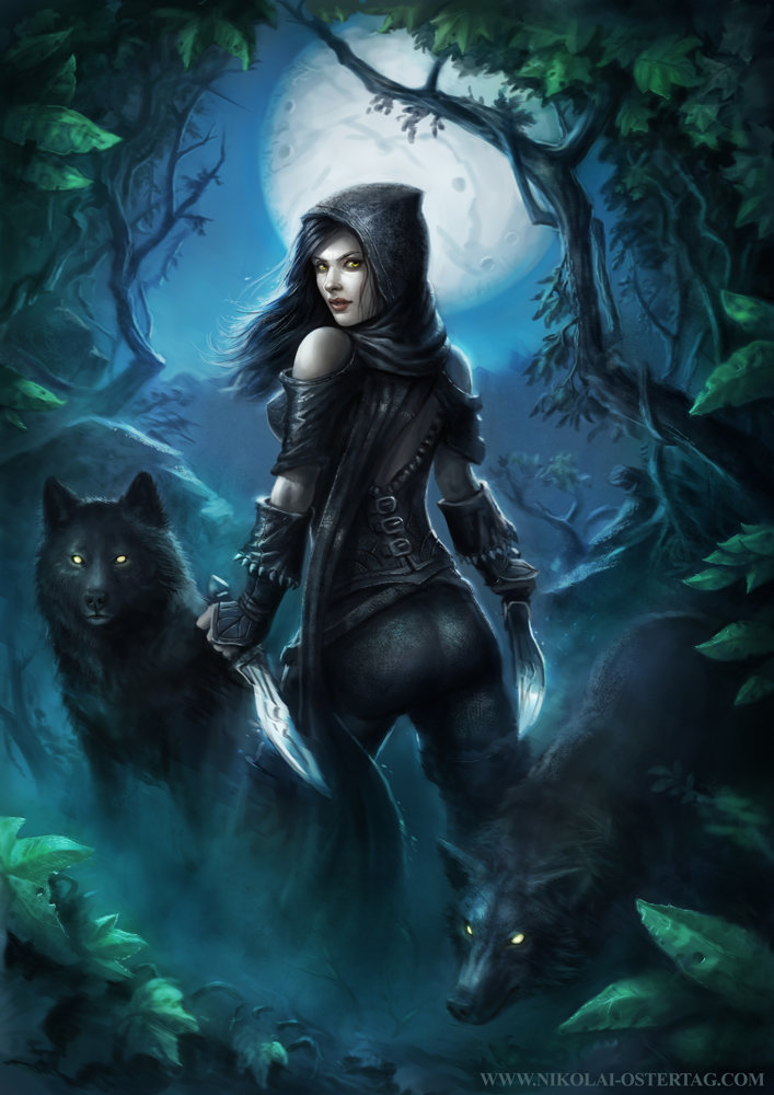 Drawing Black Protecting Wolf Girl