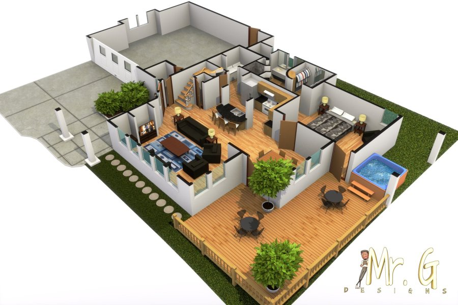 ArtStation   Modern House With Hot Tub 3D Floorplan Distribuci    n de     Scroll to see more
