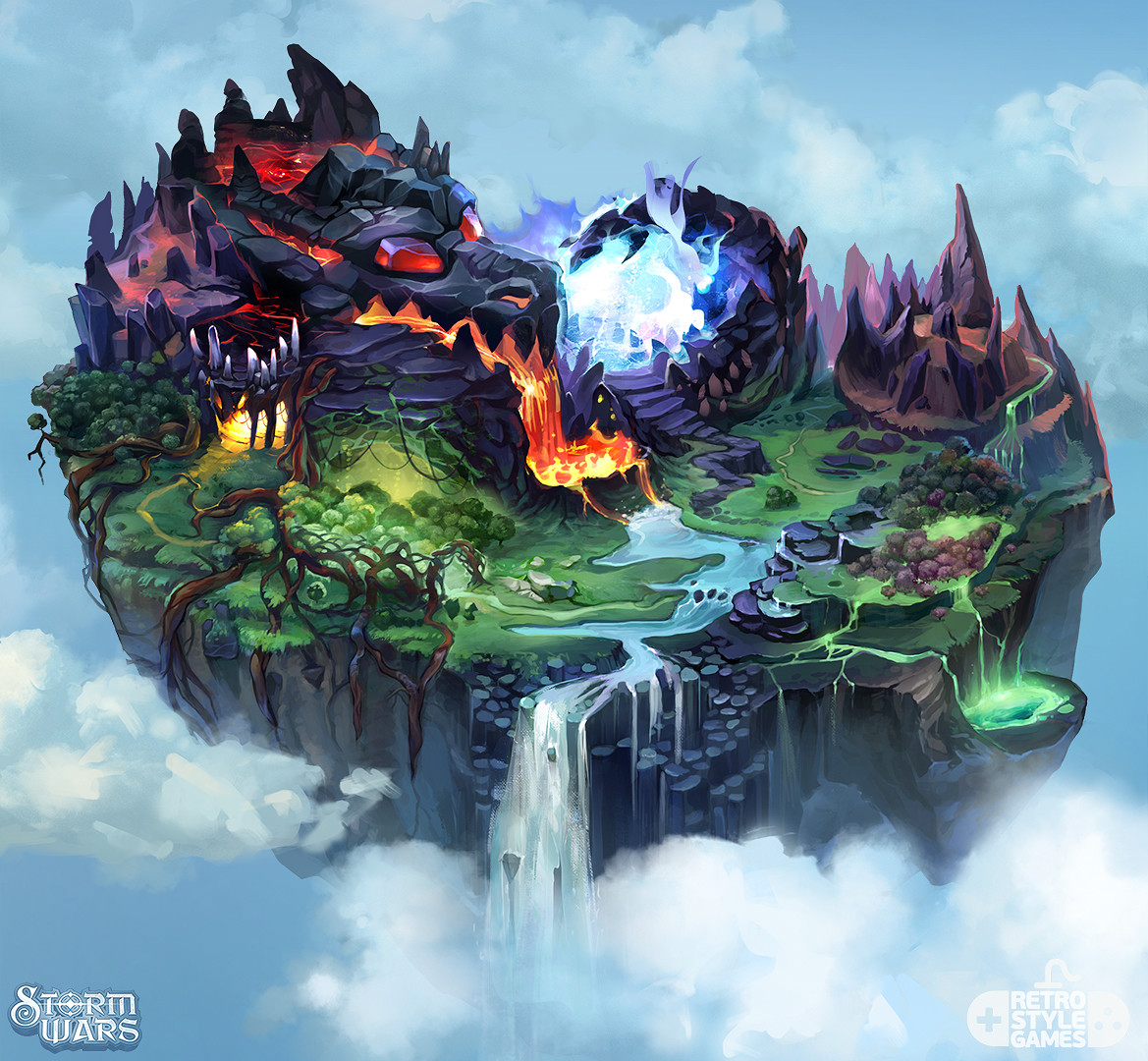 ArtStation   Storm Wars   Flying Dragon Island 2D Map  Dariia Anfalova