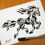 Fouad Zahiri Fire Horse Tattoo Design