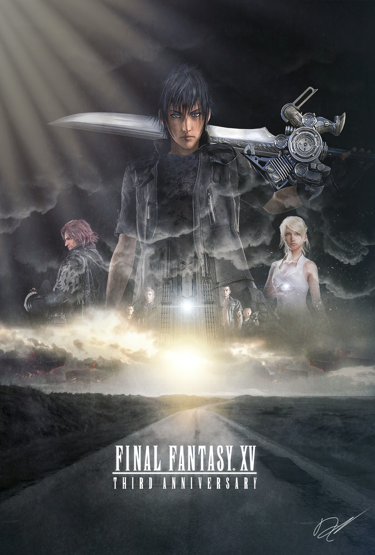 final fantasy xv third anniversary poster
