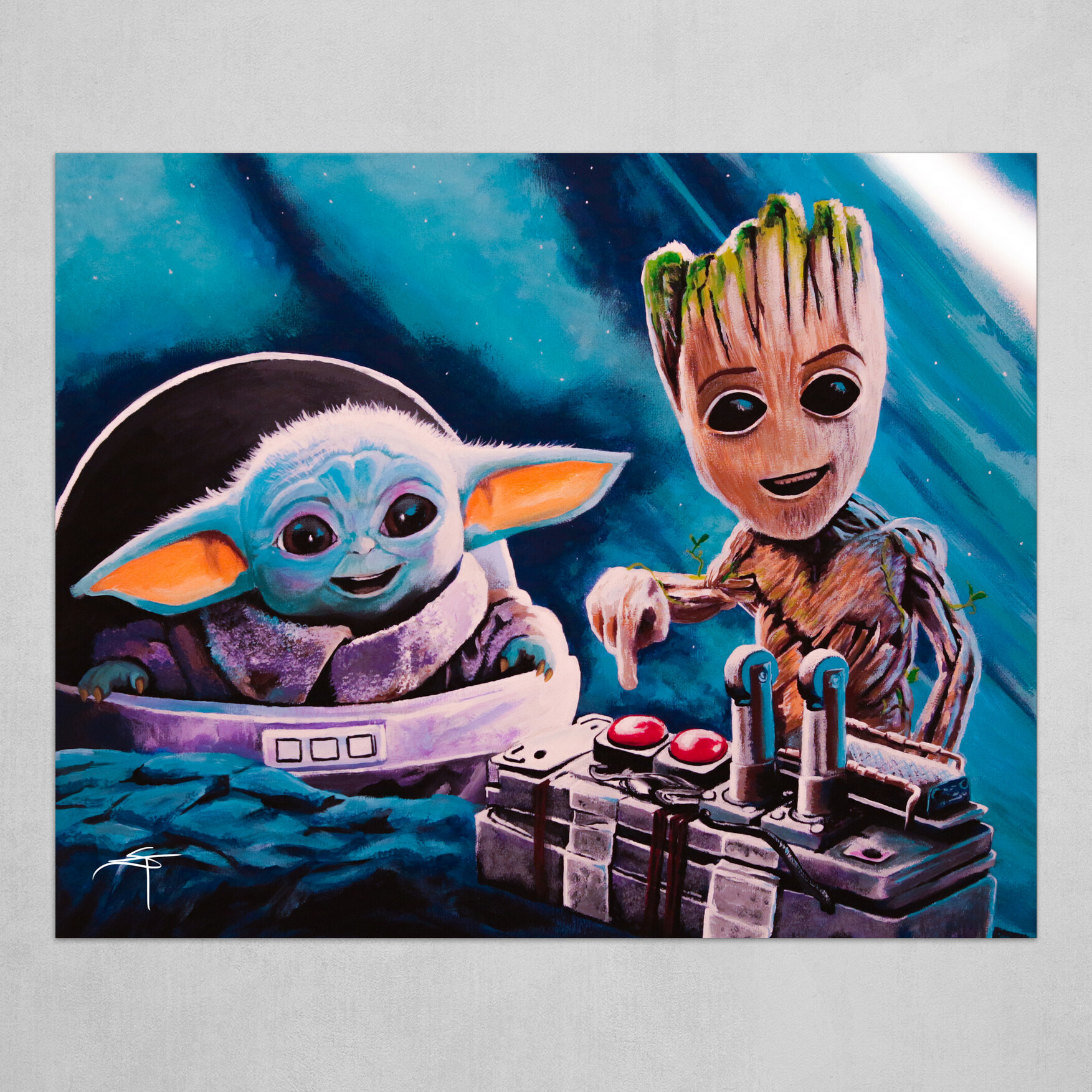 baby yoda and baby groot art poster by