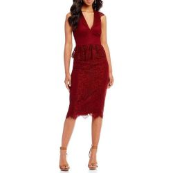 df2b0a49b96 Lyst Gianni Bini Melissa Lace Midi Dress In Red