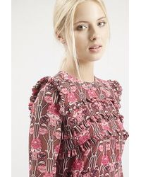 Topshop Floral Print Ruffle Dress In Pink Lyst