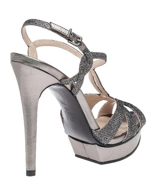 Pelle moda Farrell Pewter Evening Sandal in Black   Lyst