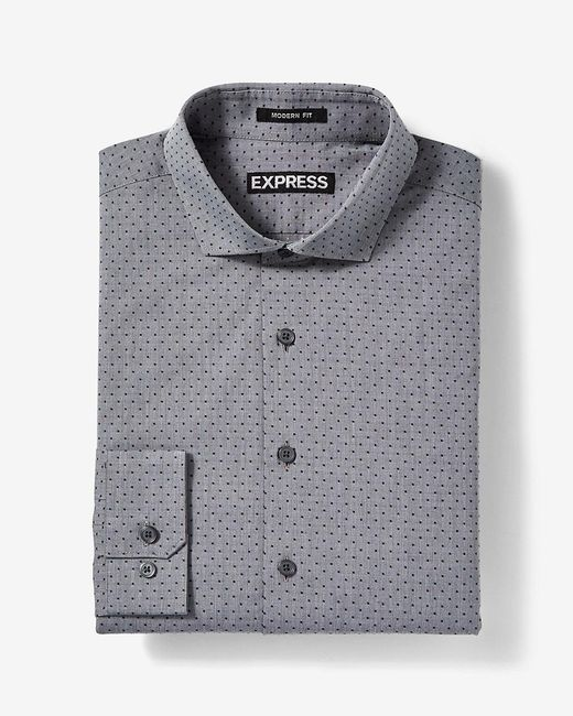 Express Classic Fit Jacquard Cotton Dress Shirt in Gray ...