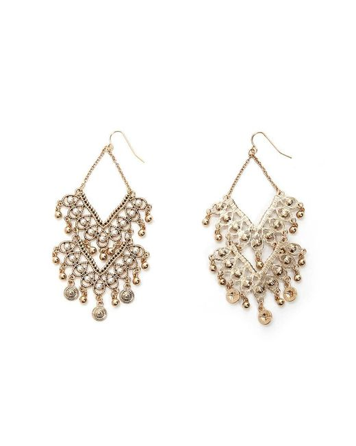 Forever 21 Metallic Faux Pearl Chandelier Earrings Lyst