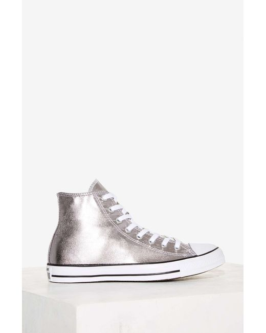 Silver Sequin High Top Sneakers