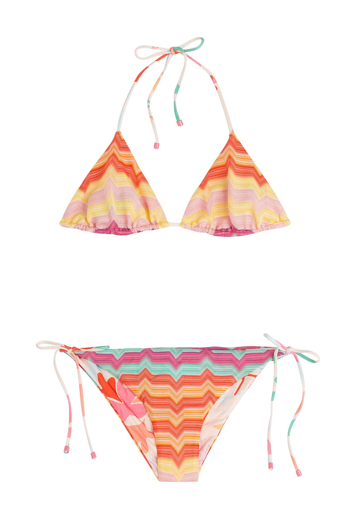 Missoni Reversible Knit Triangle Bikini Multicolor In