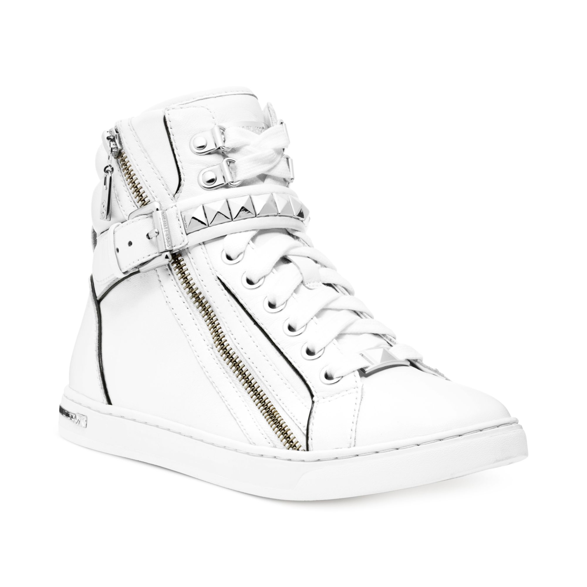 Michael Kors Michael Glam Studded High Top Sneakers In