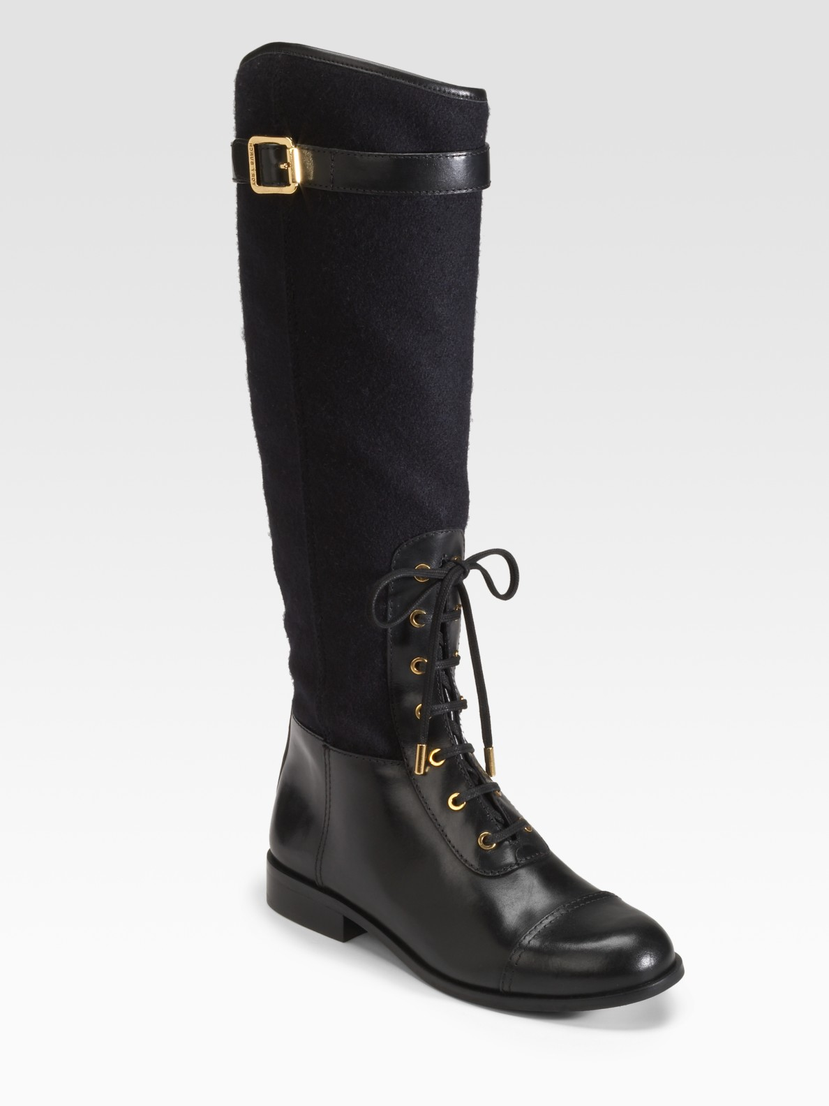 Tory Burch Brent Lace Up Leather And Flannel Riding Boots