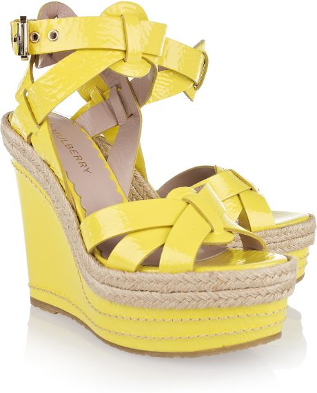 Mulberry Patentleather Wedge Sandals in Yellow (lemon)