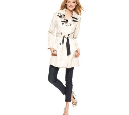 Betsey Johnson Ruffle Collar Colorblock Trench