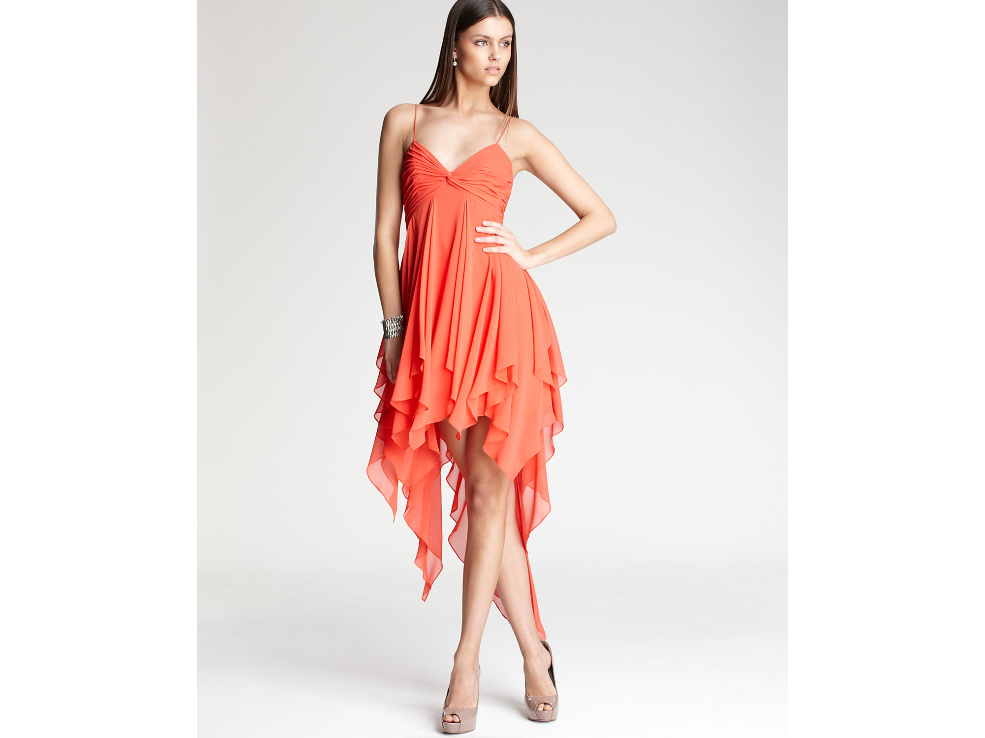 Aidan Mattox Handkerchief Dress In Orange