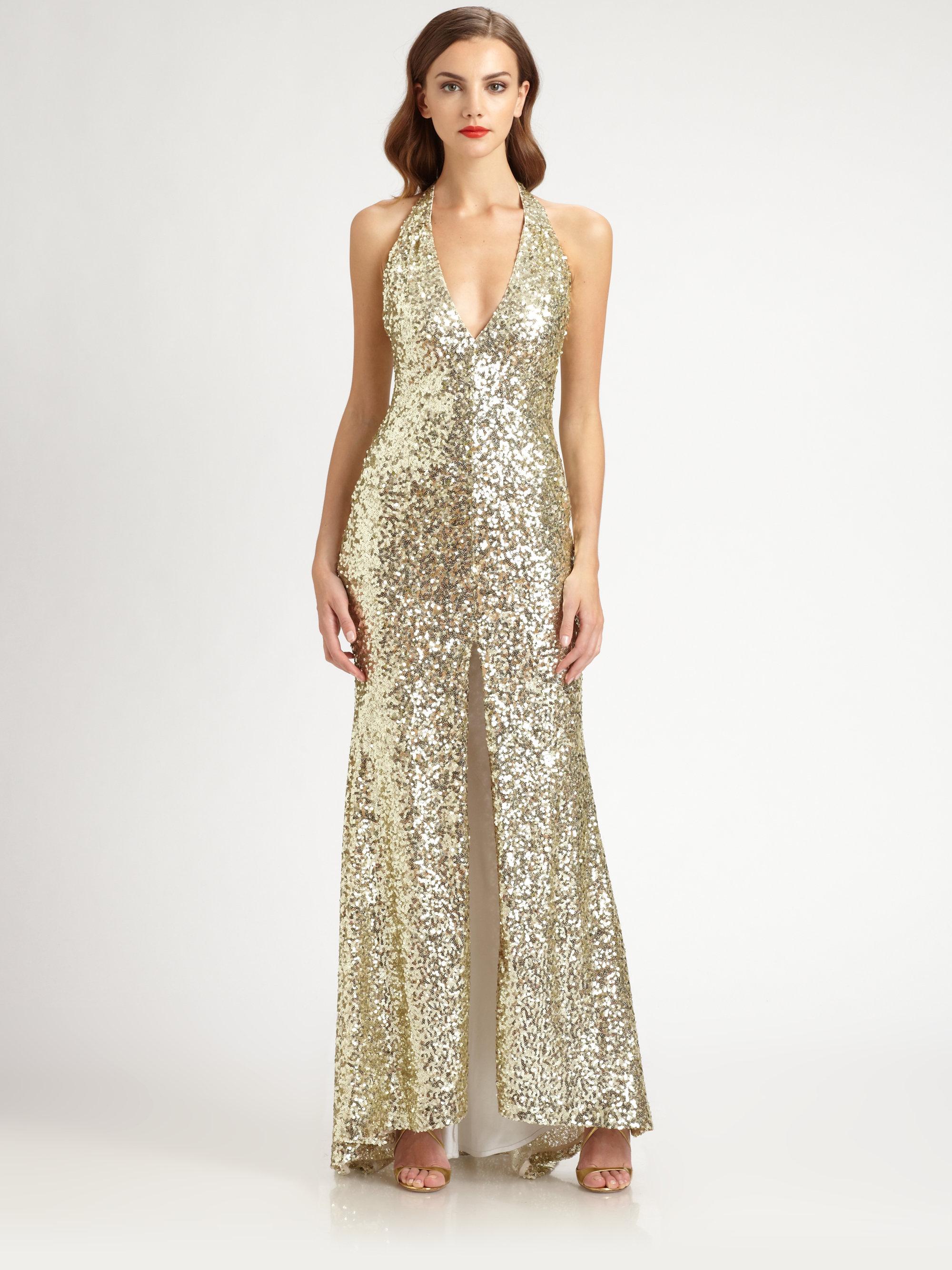 Lyst Badgley Mischka Sequined Halter Gown In Metallic
