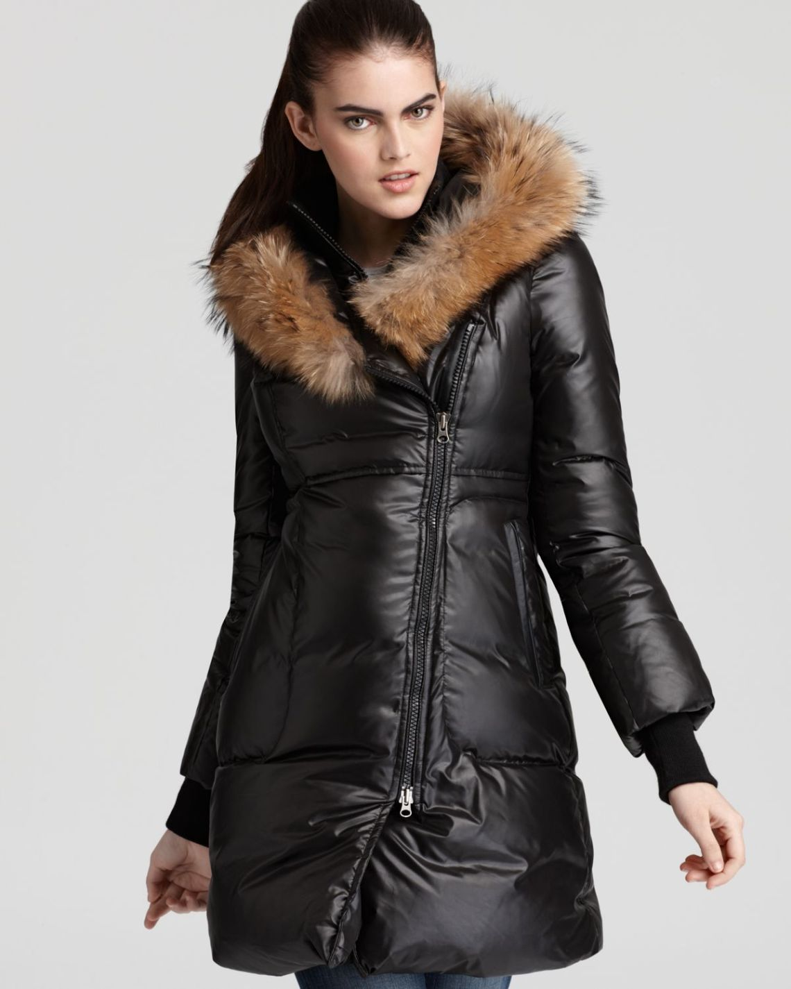 Image Result For Calvin Klein Hooded Faux Fur Trim Quilted Down Puffer Coat
