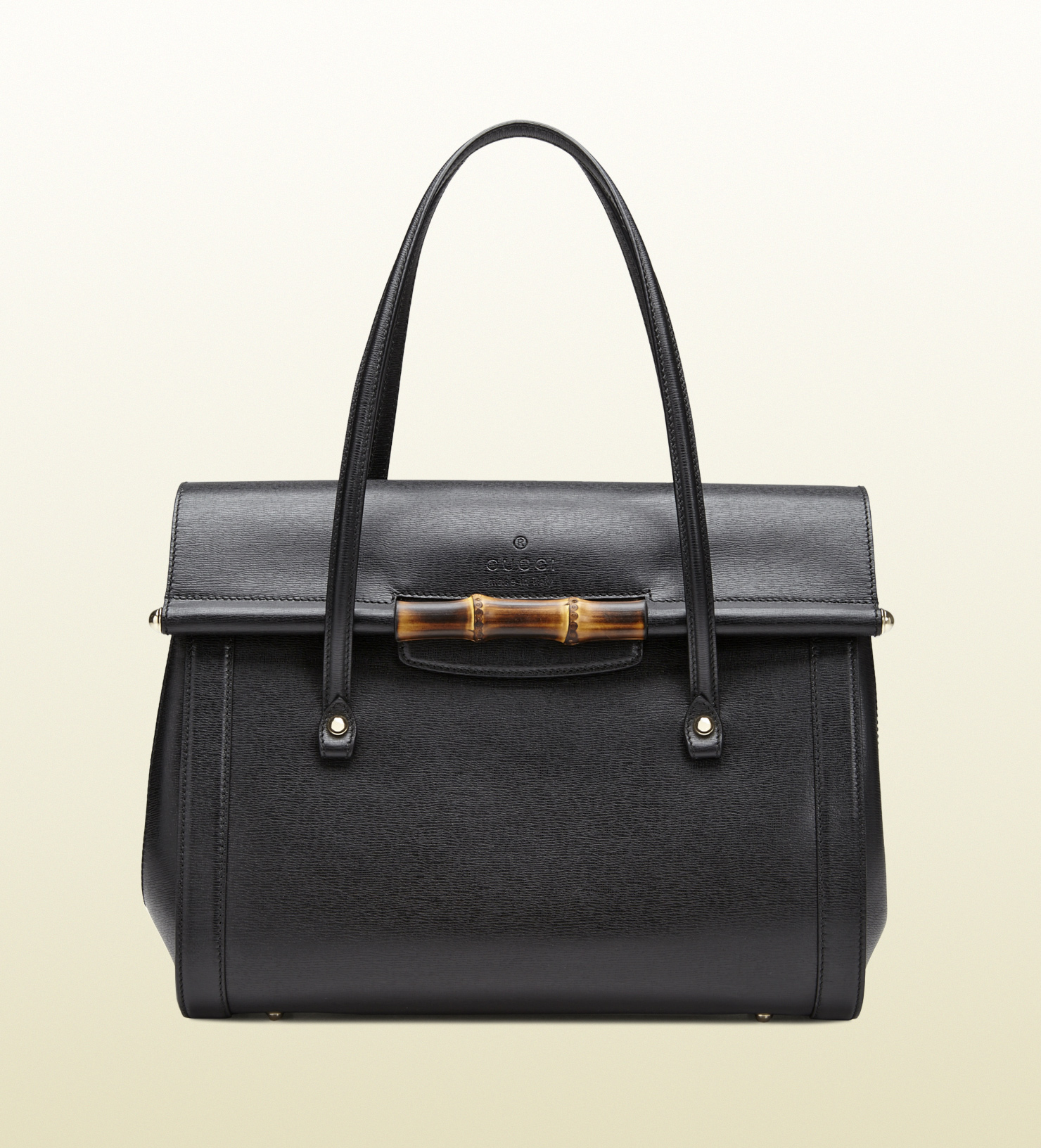 Gucci Bamboo Leather Top Handle Bag In Black Lyst