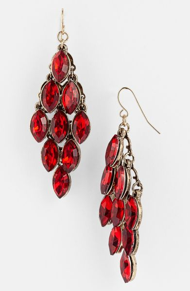 Tasha Crystal Chandelier Earrings In Red Antique Gold Lyst