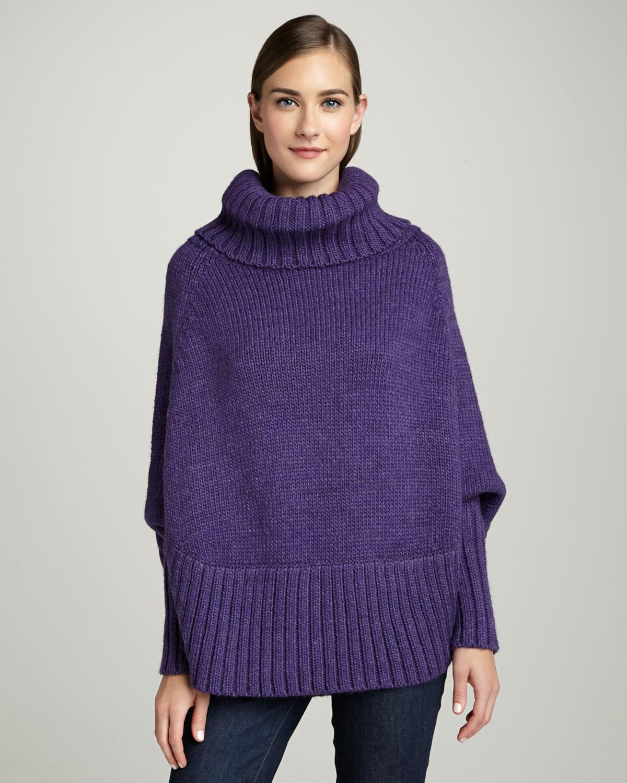 Portolano Poncho With Sleeves Iris Purple In Purple