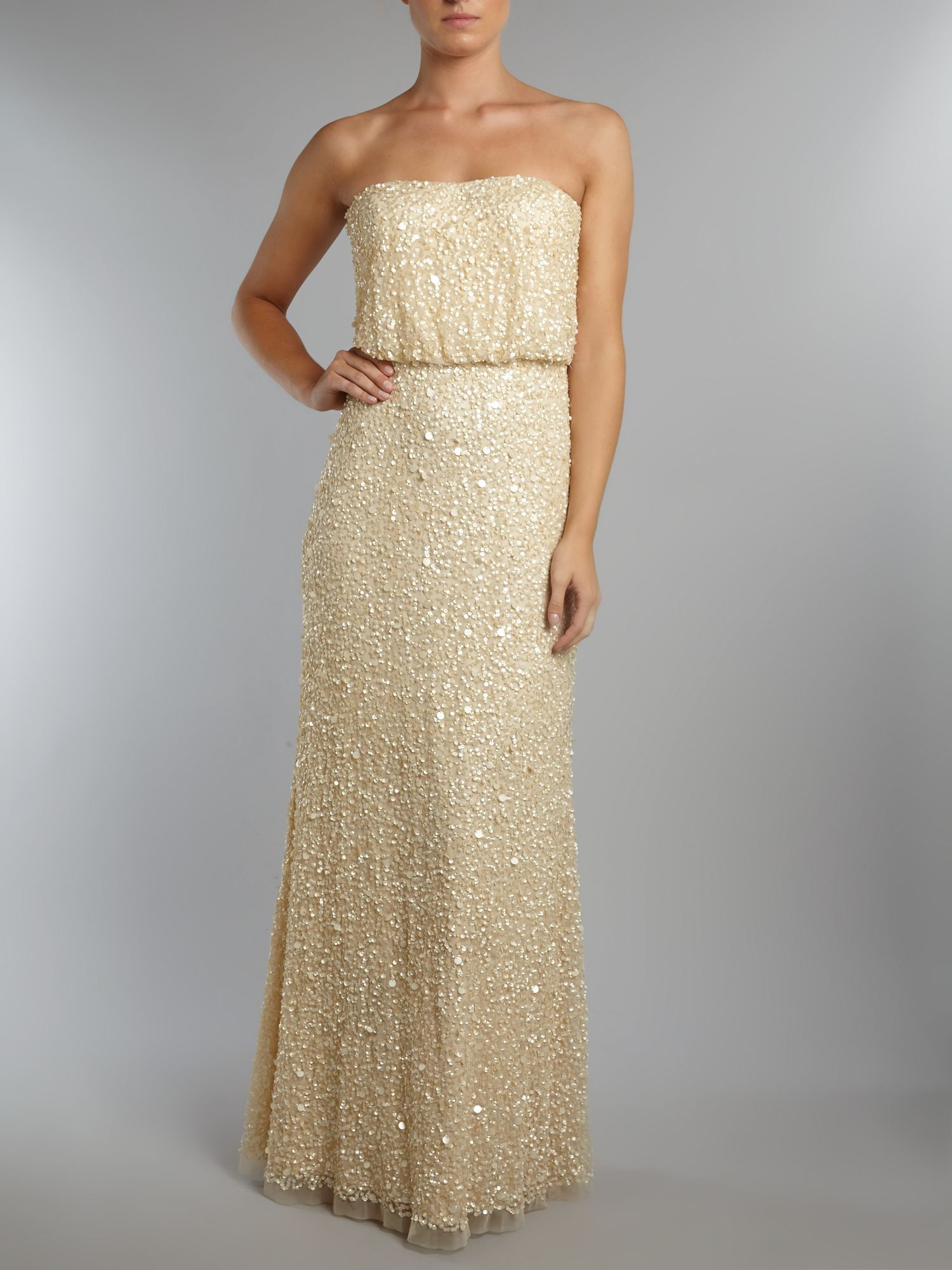 Adrianna Papell Strapless All Over Beaded Dress in Natural   Lyst Gallery