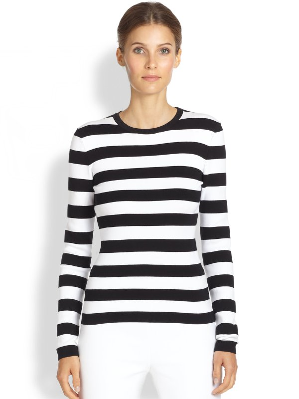 Lyst - Michael kors Striped Tee in Black