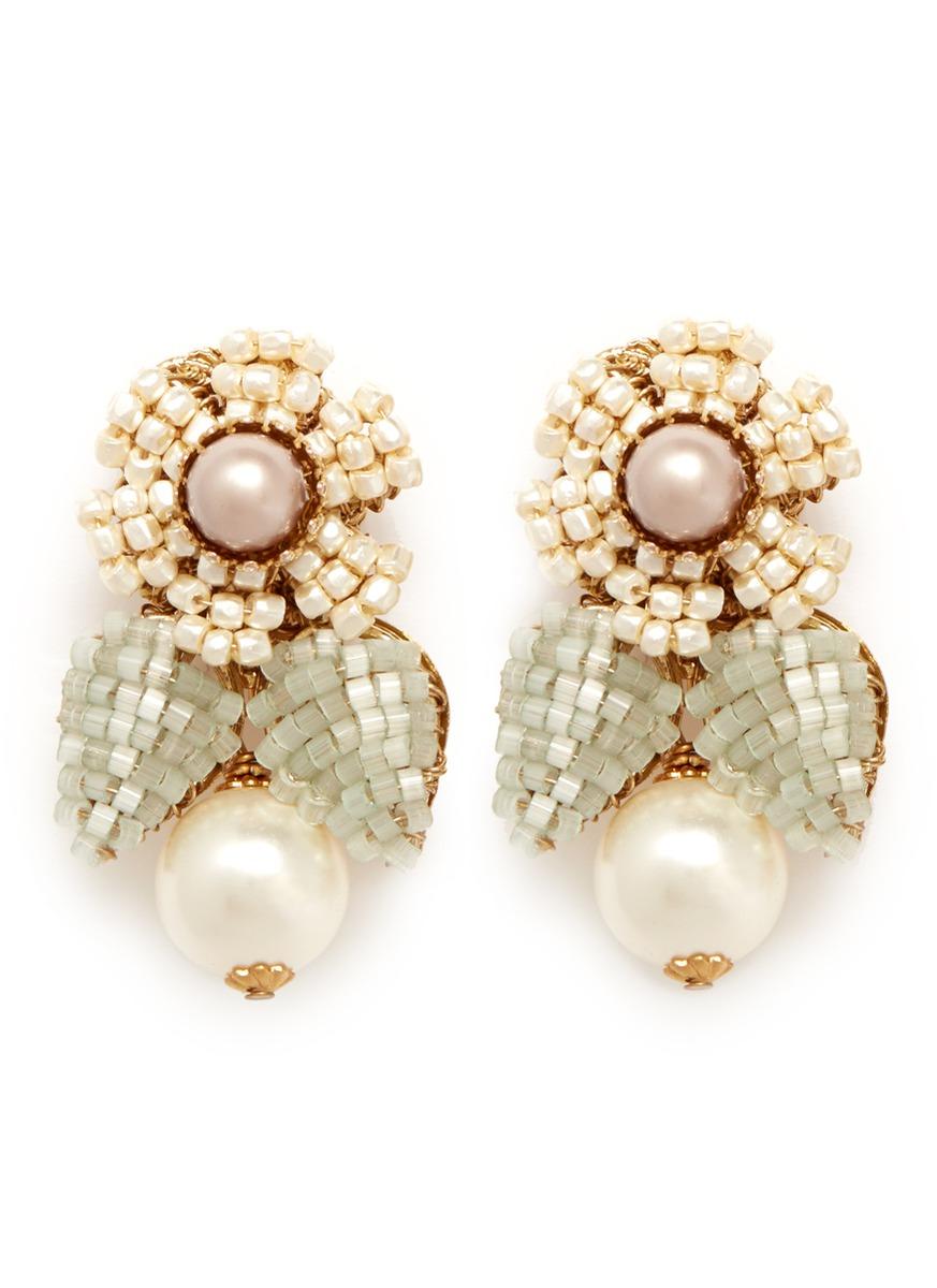 Miriam Haskell Beaded Flower Pearl Drop Earrings In White