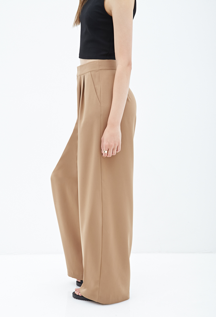 Forever 21 Pleated Wide Leg Pants In Brown Lyst
